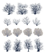 A Set Of Bare Trees. Crown With Branches. Detailed. Bushes Covered With Snow Close-up. Flat Cartoon Style. Winter Season. Isolated. Vector Art.