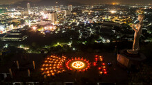 Thailand - 30,March, 2017 On Magha Puja Day, There Is Traditionally Lighting Of Candle, Circumambulation And Meditation To Pay Homage To The Lord Buddha,puja,religion,buddhism,thailand,top View
