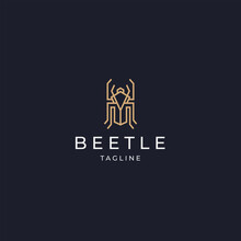 Luxurious Beetle Logo Icon Design Template Flat Vector