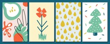 Abstract Contemporary Cards. Four Seasons Symbols, Flower Rain Drops And Christmas Tree With Snowballs. Cute Modern Vector Design Elements