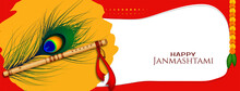 Happy Janmashtami Festival Flute And Peacock Feather Banner Design