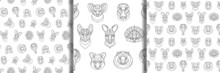 Australian Animals Outline Coloring Seamless Patterns Set. Vector Illustrations