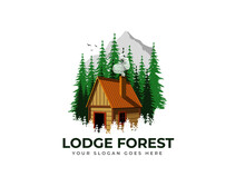 Wood Cabin Logo Vector Graphic With Chimney, Smoke, Birds, Pines And Mountain For Any Business Especially For Outdoor Activity, Hunting, Travel And Holiday Relaxation