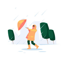 Cloudy Weather. Rainy Cold Time Urban Landscape Walking Peoples With Umbrellas Seasonal Persons Garish Vector Flat Background