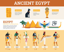 Egyptian Ancient Symbols And Infographics Collection, Flat Vector Illustration.