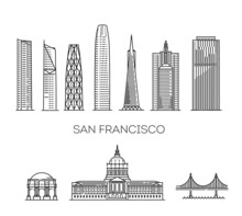 San Francisco Detailed Monuments Silhouette. Vector Illustration
