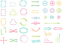 イラスト素材:リサイクルやビジネス等で使える矢印やアイコンのセット(パステルカラー)
