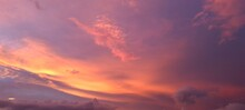 Sky Background With Pink Sunset.