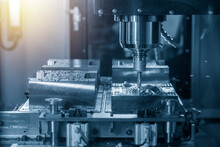 The CNC Milling Machine Rough Cutting The Injection Mold Parts By Indexable  Endmill Tools.