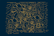 Egyptian Elements Poster Gold. An Illustration In A Vector With The Symbols Of Egypt Of The Old. Gods, Scarabs, Eyes, Cats, Keys And Pyramids. Linear Pattern Of The Ancient World Of Egypt. Vector