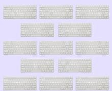 Pattern: Modern White Keyboard On Pale Purple Background