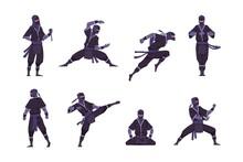 Cartoon Ninja. Funny Japanese Warrior Character In Kimono Standing In Fight Position. Shinobi Sitting In Lotus Pose For Meditation. Combat Motions Of Asian Man. Vector Kawaii Mascot Set