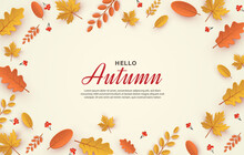 Hello Autumn Banner With Scattered Leaves On White Paper