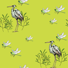 Watercolor Illustration Seamless Pattern ,gray Stork ,green Grass And Green Dragonfly On Light Green Background,for Wallpaper,fabric Or Furniture