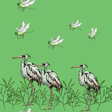 Vector Illustration Seamless Pattern,a Large Stork And Small Dragonfly Among The Grass On A Green Background,a Wonderful Natural Print,for Boho Wallpaper And Fabric