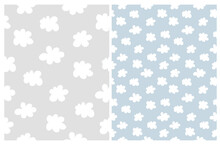 Cute Simple Seamless Patterns With White Fluffy Clouds Isolated On A Light Gray And Blue Background. Simple Nursery Art For Baby Boy. Print With Clouds Of Irregular Shape. Baby Shower Pattern.