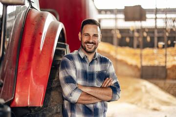 Adult man, enjoying his new tractor.