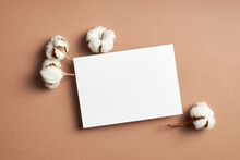 Invitation Or Greeting Card Mockup With Natural Cotton Plant Flowers Decorations