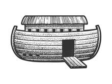 Noah's Ark Sketch Engraving Vector Illustration. T-shirt Apparel Print Design. Scratch Board Imitation. Black And White Hand Drawn Image.