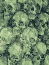 Wall Of Skulls In Cartoon Style On Old Shabby Surface. Modern Background. 3d Rendering Digital Illustration