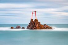 Torii Gate On A Rock Near Hawaii Beach, Tottori, Japan