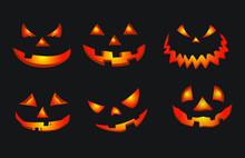 Halloween Pumpkin Faces Vector Design