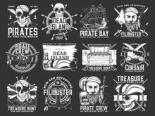 Caribbean Pirates And Corsair Icons. Treasure Hunt Adventure Monochrome Vector Emblems Set With Human Skull In Bandana And Tricorne Hat, Pirate Ship And Cutlass Sabre, Anchor, Steering Wheel And Rum