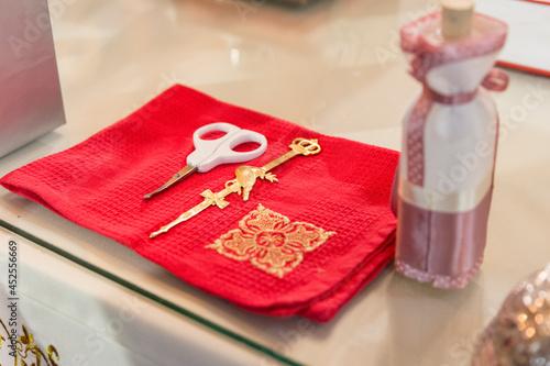 Fototapeta christening table in an orthodox church