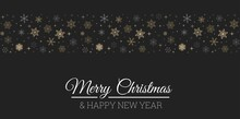 Merry Christmas And Happy New Year Elegant Greeting Card With Snowflakes, Christmas Design For Invitation,banner,poster,web, Background, Wallpaper, Mobile. Linear Snowflakes Holiday Design