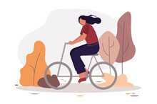 Park Activities. Female On Bicycle Riding In Park. Cute Girl On Bike. Healthy Lifestyle. Concept Of Outdoor Recreation And Spending Active Free Time