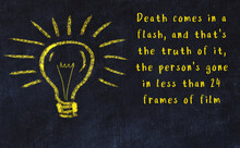 Chalk Drawing Of A Bulb And Inscription Of Wise Quote