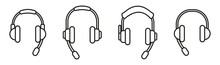 Outline Headphone Icons Collection