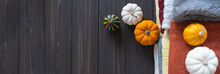 Autumn Background With A Variety Of Wool Knitted Sweaters And Pumpkins