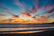 Bright Sunset Sky Over Sea