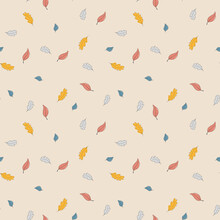 Vector Seamless Autumn Pattern Of Cute Tiny Orange, Red, Blue, And Grey Leaves Stylized In A Flat And Doodle Style In The Light Background. Hand-drawn Leaf Texture. Background For Textile Wallpapers