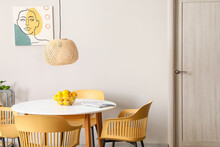 Dining Table With Lemons In Interior Of Room