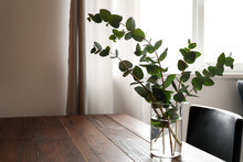 Vase With Eucalyptus Branches On Table In Room