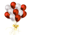 Realistic Metallic Balloons With Polka Dots Fly On White Background.