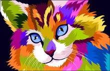 Illustration Colorful Cat With Pop Art Style