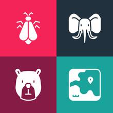 Set Pop Art Africa Safari Map, Bear Head, Elephant And Mosquito Icon. Vector