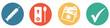 Leinwandbild Motiv Bunter Banner mit 4 Buttons: Geimpft, Getestet oder Genesen - 3G
