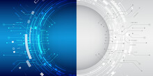Cyber Security Internet And Networking Concept. Abstract Futuristic Background Divided Into Two Parts In Blue And Gray Colors. Hi-tech Vector Illustration With Various Technology Elements.