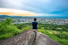 Male Travelers Scenery Area (Khao Hin Lek Fai View Point) Is A Beautiful Tourist Attraction In Downtown Hua Hin. Prachuap Khiri Khan Province Thailand