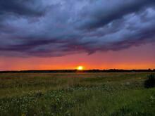 Field Green Grass, Sunset Orange Sun, Blue Sky Clouds