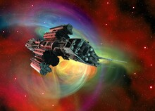 Spaceship In Space, Illustration
