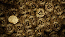 Bitcoin Cryptocurrency Represented As Gold Coins. Digital Money Wallpaper. 3D Render.