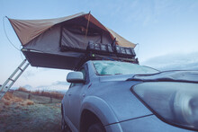 Sportscar With Roof Tent In Frosty Wintertime