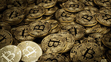 Bitcoin Cryptocurrency Represented As Gold Coins. Blockchain Money Background. 3D Render.