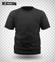 T-shirt Noir Vectoriel Sur Fond Transparent