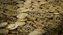 Bitcoin Cryptocurrency Represented As Gold Coins. Future Finance Background. 3D Render.